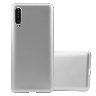 Cadorabo Hülle für Samsung Galaxy A50 in METALLIC SILBER - Handyhülle aus flexiblem TPU Silikon - Silikonhülle Schutzhülle Ultra Slim Soft Back Cover Case Bumper