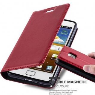 Cadorabo Hülle für Samsung Galaxy S2 / S2 PLUS in APFEL ROT - Handyhülle mit Magnetverschluss, Standfunktion und Kartenfach - Case Cover Schutzhülle Etui Tasche Book Klapp Style