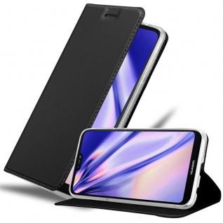 Cadorabo Hülle für Huawei P20 LITE in CLASSY SCHWARZ - Handyhülle mit Magnetverschluss, Standfunktion und Kartenfach - Case Cover Schutzhülle Etui Tasche Book Klapp Style