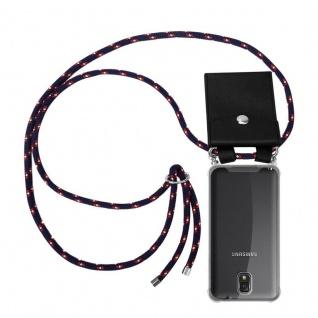 Cadorabo Handy Kette für Samsung Galaxy NOTE 3 in BLAU ROT WEISS GEPUNKTET - Silikon Necklace Umhänge Hülle mit Silber Ringen, Kordel Band Schnur und abnehmbarem Etui - Schutzhülle