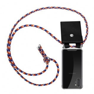 Cadorabo Handy Kette für Samsung Galaxy NOTE 10 PLUS in ORANGE BLAU WEISS Silikon Necklace Umhänge Hülle mit Silber Ringen, Kordel Band Schnur und abnehmbarem Etui Schutzhülle