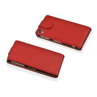 Cadorabo Hülle für Sony Xperia Z1 in INFERNO ROT - Handyhülle im Flip Design aus strukturiertem Kunstleder - Case Cover Schutzhülle Etui Tasche Book Klapp Style - Vorschau 2