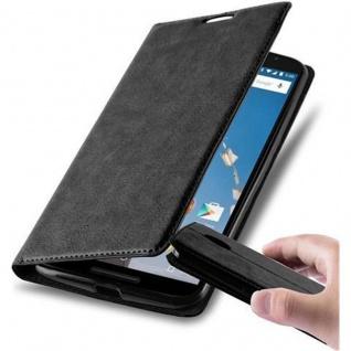 Cadorabo Hülle für Lenovo Google NEXUS 6 / 6X in NACHT SCHWARZ - Handyhülle mit Magnetverschluss, Standfunktion und Kartenfach - Case Cover Schutzhülle Etui Tasche Book Klapp Style