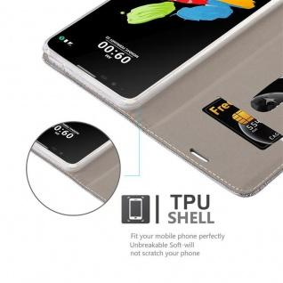 Cadorabo Hülle für LG STYLUS 2 in HELL GRAU BRAUN - Handyhülle mit Magnetverschluss, Standfunktion und Kartenfach - Case Cover Schutzhülle Etui Tasche Book Klapp Style - Vorschau 2