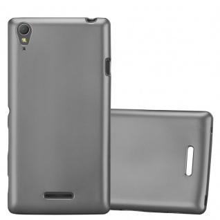 Cadorabo Hülle für Sony Xperia T3 in METALLIC GRAU - Handyhülle aus flexiblem TPU Silikon - Silikonhülle Schutzhülle Ultra Slim Soft Back Cover Case Bumper