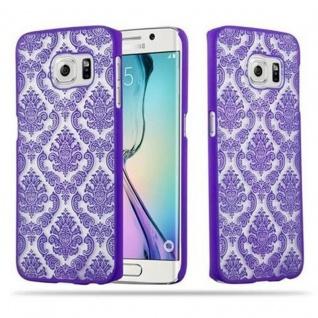 Samsung Galaxy S6 EDGE Hardcase Hülle in LILA von Cadorabo - Blumen Paisley Henna Design Schutzhülle ? Handyhülle Bumper Back Case Cover