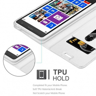 Cadorabo Hülle für Nokia Lumia 1020 in CLASSY SILBER - Handyhülle mit Magnetverschluss, Standfunktion und Kartenfach - Case Cover Schutzhülle Etui Tasche Book Klapp Style - Vorschau 2