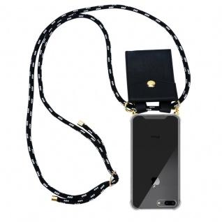 Cadorabo Handy Kette für Apple iPhone 8 PLUS / 7 PLUS / 7S PLUS in SCHWARZ SILBER Silikon Necklace Umhänge Hülle mit Gold Ringen, Kordel Band Schnur und abnehmbarem Etui Schutzhülle