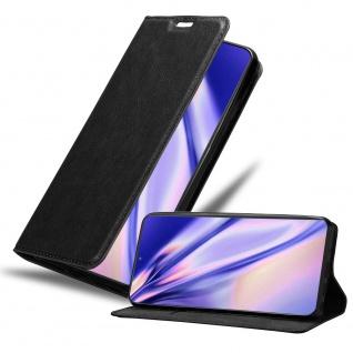 Cadorabo Hülle für Samsung Galaxy NOTE 20 PLUS in NACHT SCHWARZ Handyhülle mit Magnetverschluss, Standfunktion und Kartenfach Case Cover Schutzhülle Etui Tasche Book Klapp Style