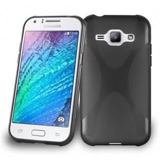 Cadorabo Hülle für Samsung Galaxy J1 2015 in OXID SCHWARZ - Handyhülle aus flexiblem TPU Silikon - Silikonhülle Schutzhülle Ultra Slim Soft Back Cover Case Bumper
