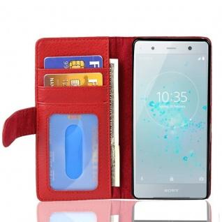 Cadorabo Hülle für Sony Xperia XZ2 in INFERNO ROT Handyhülle mit Magnetverschluss und 3 Kartenfächern Case Cover Schutzhülle Etui Tasche Book Klapp Style