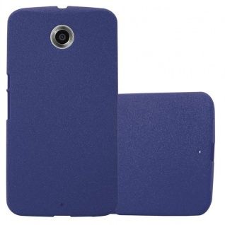 Cadorabo Hülle für Motorola NEXUS 6 in FROST DUNKEL BLAU - Handyhülle aus flexiblem TPU Silikon - Silikonhülle Schutzhülle Ultra Slim Soft Back Cover Case Bumper