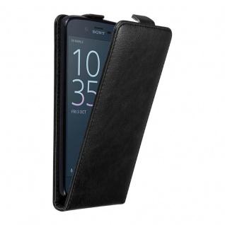 Cadorabo Hülle für Sony Xperia XZ / XZS in NACHT SCHWARZ - Handyhülle im Flip Design mit unsichtbarem Magnetverschluss - Case Cover Schutzhülle Etui Tasche Book Klapp Style