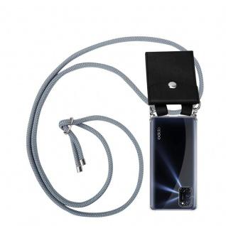 Cadorabo Handy Kette für Oppo A72 in SILBER GRAU Silikon Necklace Umhänge Hülle mit Silber Ringen, Kordel Band Schnur und abnehmbarem Etui Schutzhülle