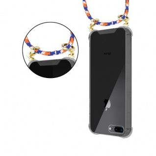 Cadorabo Handy Kette für Apple iPhone 8 PLUS / 7 PLUS / 7S PLUS in ORANGE BLAU WEISS - Silikon Necklace Umhänge Hülle mit Gold Ringen, Kordel Band Schnur und abnehmbarem Etui ? Schutzhülle - Vorschau 5