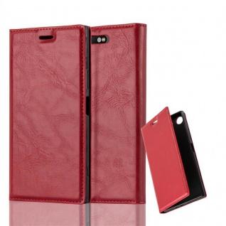 Cadorabo Hülle für Sony Xperia XZ1 in APFEL ROT Handyhülle mit Magnetverschluss, Standfunktion und Kartenfach Case Cover Schutzhülle Etui Tasche Book Klapp Style