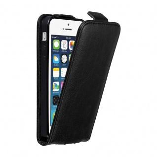 Cadorabo Hülle für Apple iPhone 5 / iPhone 5S / iPhone SE in NACHT SCHWARZ - Handyhülle im Flip Design mit unsichtbarem Magnetverschluss - Case Cover Schutzhülle Etui Tasche Book Klapp Style
