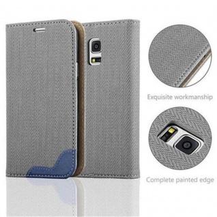 Cadorabo Hülle für Samsung Galaxy S5 MINI / S5 MINI DUOS - Hülle in GRAU BLAU - Handyhülle in Bast-Optik mit Kartenfach und Standfunktion - Case Cover Schutzhülle Etui Tasche Book Klapp Style - Vorschau 2