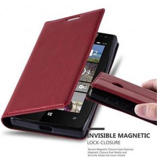 Cadorabo Hülle für Nokia Lumia 435 in APFEL ROT - Handyhülle mit Magnetverschluss, Standfunktion und Kartenfach - Case Cover Schutzhülle Etui Tasche Book Klapp Style