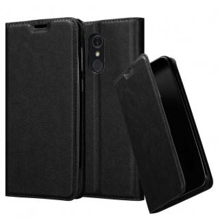 Cadorabo Hülle für LG Q Stylus in NACHT SCHWARZ Handyhülle mit Magnetverschluss, Standfunktion und Kartenfach Case Cover Schutzhülle Etui Tasche Book Klapp Style
