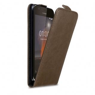 Cadorabo Hülle für Nokia 1 2017 in KAFFEE BRAUN - Handyhülle im Flip Design mit Magnetverschluss - Case Cover Schutzhülle Etui Tasche Book Klapp Style