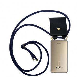 Cadorabo Handy Kette für Asus ZenFone 3 Deluxe in TIEF BLAU - Silikon Necklace Umhänge Hülle mit Gold Ringen, Kordel Band Schnur und abnehmbarem Etui ? Schutzhülle