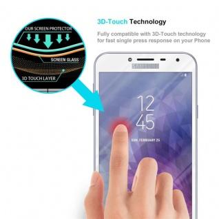 Cadorabo Vollbild Panzer Folie für Samsung Galaxy J4 2018 - Schutzfolie in TRANSPARENT mit WEISS - Gehärtetes (Tempered) Display-Schutzglas in 9H Härte mit 3D Touch Kompatibilität - Vorschau 5