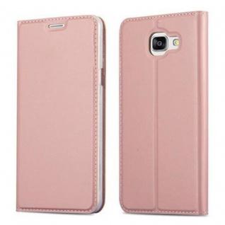 Cadorabo Hülle für Samsung Galaxy A5 2016 in CLASSY ROSÉ GOLD - Handyhülle mit Magnetverschluss, Standfunktion und Kartenfach - Case Cover Schutzhülle Etui Tasche Book Klapp Style