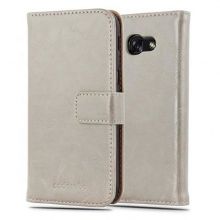 Cadorabo Hülle für Samsung Galaxy A5 2017 in CAPPUCINO BRAUN - Handyhülle mit Magnetverschluss, Standfunktion und Kartenfach - Case Cover Schutzhülle Etui Tasche Book Klapp Style