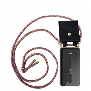 Cadorabo Handy Kette für LG Q9 in COLORFUL PARROT - Silikon Necklace Umhänge Hülle mit Gold Ringen, Kordel Band Schnur und abnehmbarem Etui ? Schutzhülle