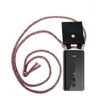 Cadorabo Handy Kette für LG Q9 in COLORFUL PARROT Silikon Necklace Umhänge Hülle mit Gold Ringen, Kordel Band Schnur und abnehmbarem Etui Schutzhülle
