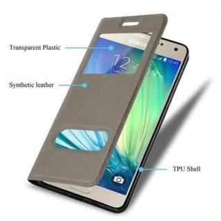 Cadorabo Hülle für Samsung Galaxy A5 2015 in STEIN BRAUN ? Handyhülle mit Magnetverschluss, Standfunktion und 2 Sichtfenstern ? Case Cover Schutzhülle Etui Tasche Book Klapp Style - Vorschau 3