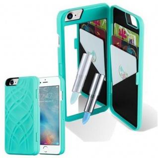 Cadorabo - TPU Hard Cover für Apple iPhone 7 / iPhone 7S / iPhone 8 mit Muster, Spiegel und 3 Kartenfächer ? Case Schutzhülle in TÜRKIS