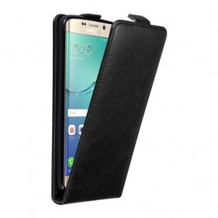 Cadorabo Hülle für Samsung Galaxy S6 EDGE PLUS in NACHT SCHWARZ - Handyhülle im Flip Design mit unsichtbarem Magnetverschluss - Case Cover Schutzhülle Etui Tasche Book Klapp Style