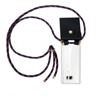 Cadorabo Handy Kette für Samsung Galaxy NOTE 5 in BLAU ROT WEISS GEPUNKTET - Silikon Necklace Umhänge Hülle mit Gold Ringen, Kordel Band Schnur und abnehmbarem Etui ? Schutzhülle