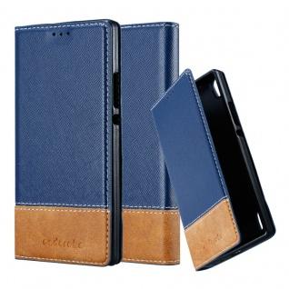 Cadorabo Hülle für Huawei P7 in DUNKEL BLAU BRAUN - Handyhülle mit Magnetverschluss, Standfunktion und Kartenfach - Case Cover Schutzhülle Etui Tasche Book Klapp Style