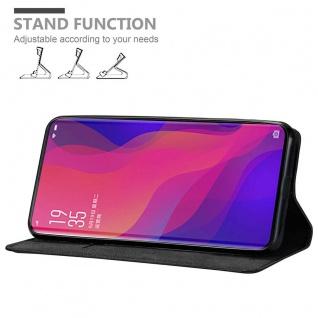 Cadorabo Hülle für OPPO FIND X in NACHT SCHWARZ Handyhülle mit Magnetverschluss, Standfunktion und Kartenfach Case Cover Schutzhülle Etui Tasche Book Klapp Style