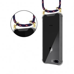 Cadorabo Handy Kette für Apple iPhone 8 PLUS / 7 PLUS / 7S PLUS in BLAU ROT WEISS GEPUNKTET - Silikon Necklace Umhänge Hülle mit Gold Ringen, Kordel Band Schnur und abnehmbarem Etui ? Schutzhülle - Vorschau 5