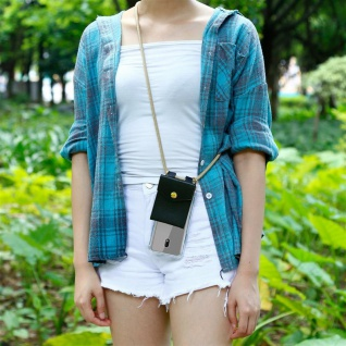 Cadorabo Handy Kette für Nokia 2.2 in GLÄNZEND BRAUN Silikon Necklace Umhänge Hülle mit Gold Ringen, Kordel Band Schnur und abnehmbarem Etui Schutzhülle - Vorschau 5