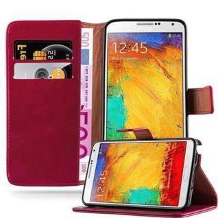 Cadorabo Hülle für Samsung Galaxy NOTE 3 in WEIN ROT ? Handyhülle mit Magnetverschluss, Standfunktion und Kartenfach ? Case Cover Schutzhülle Etui Tasche Book Klapp Style