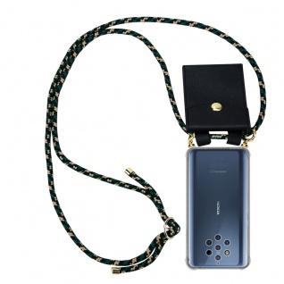 Cadorabo Handy Kette für Nokia 10 in CAMOUFLAGE Silikon Necklace Umhänge Hülle mit Gold Ringen, Kordel Band Schnur und abnehmbarem Etui Schutzhülle