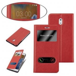 Cadorabo Hülle für Nokia 3 2017 in SAFRAN ROT - Handyhülle mit Magnetverschluss, Standfunktion und 2 Sichtfenstern - Case Cover Schutzhülle Etui Tasche Book Klapp Style - Vorschau 4