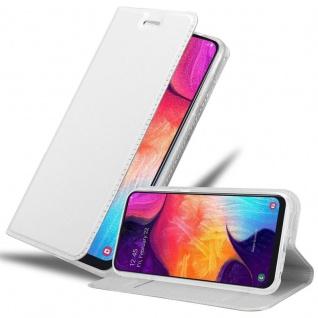 Cadorabo Hülle für Samsung Galaxy A50 in CLASSY SILBER - Handyhülle mit Magnetverschluss, Standfunktion und Kartenfach - Case Cover Schutzhülle Etui Tasche Book Klapp Style