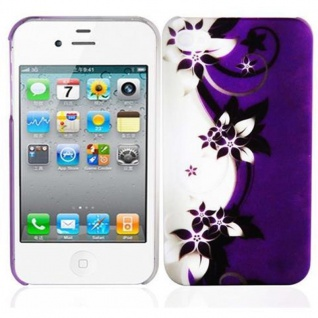 Cadorabo - Hard Cover für Apple iPhone 4 / iPhone 4S - Case Cover Schutzhülle Bumper im Design: LILA VEILCHEN