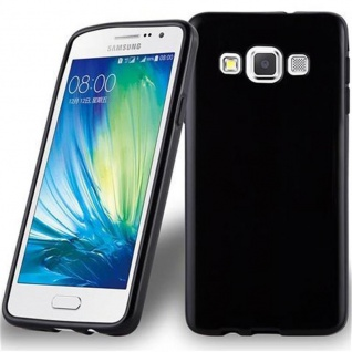 Cadorabo Hülle für Samsung Galaxy A3 2015 in SCHWARZ - Handyhülle aus flexiblem TPU Silikon - Silikonhülle Schutzhülle Ultra Slim Soft Back Cover Case Bumper
