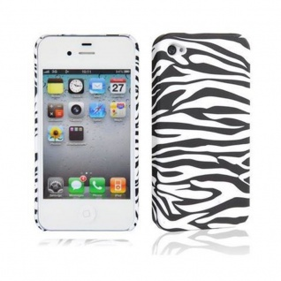 Cadorabo - Hard Cover für Apple iPhone 4 / iPhone 4S - Case Cover Schutzhülle Bumper im Design: ZEBRA