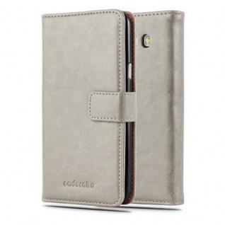 Cadorabo Hülle für Samsung Galaxy J7 2016 in CAPPUCINO BRAUN - Handyhülle mit Magnetverschluss, Standfunktion und Kartenfach - Case Cover Schutzhülle Etui Tasche Book Klapp Style