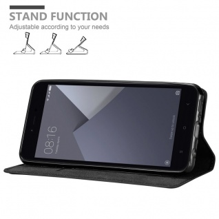 Cadorabo Hülle für Xiaomi RedMi NOTE 5A PRIME in NACHT SCHWARZ - Handyhülle mit Magnetverschluss, Standfunktion und Kartenfach - Case Cover Schutzhülle Etui Tasche Book Klapp Style
