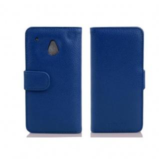 Cadorabo Hülle für HTC ONE M4 MINI in KÖNIGS BLAU - Handyhülle aus strukturiertem Kunstleder mit Standfunktion und Kartenfach - Case Cover Schutzhülle Etui Tasche Book Klapp Style - Vorschau 2