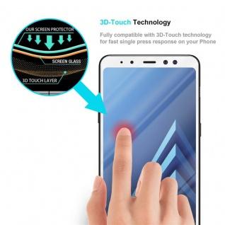 Cadorabo Vollbild Panzer Folie für Samsung Galaxy A8 2018 - Schutzfolie in TRANSPARENT mit WEISS - Gehärtetes (Tempered) Display-Schutzglas in 9H Härte mit 3D Touch Kompatibilität - Vorschau 5